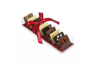 """chocri """"kleine Winterweltreise"""" aus Zartbitter-,Vollmilch und weiße Schokoladentafeln mit weihnachtenlichen Zutaten wie Spekulatius in der Verpackung"""