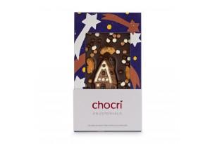 """chocri Zartbittschokoladentafel """"Knusperhaus"""" mit gebrannten Cashews, Weizencrisps und Schokoladenhaus in der weihnachtlichen Verpackung"""