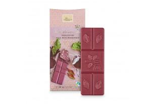 Weiße Schokolade 'Rote Beete Rhabarber' Tee-Schokolade mit Rhabarber und Rote Beete, ausgepackt