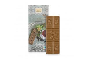 Weiße Schokolade mit schwarzem Tee 'Earl Grey' Tee-Schokolade mit Earl Grey Scharztee, ausgepackt