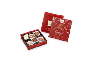 Handgemachte Pralinen und Trüffel mit Alkohol 'Lauensteiner® Weihnachtspräsent' ausgepackt mit sichtbaren Pralinen