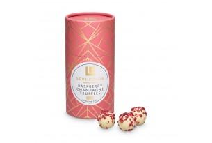 Love Cocoa Handmade Raspberry Champagne Trüffel Pralinen aus weißer Schokolade mit Himbeerstückchen in einer Geschenkverpackung, eingepackt