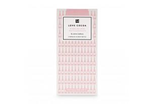 chocri / Love Coco weiße Schokoladentafel mit Rosewein und Erdbeeren in einer rosafarbenden Verpackung