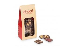 chocri Bruchschokolade aus Vegolade und Zartbitterschokoladentafeln in einer praktischen Verpackung