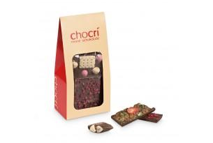 chocri Bruchschokolade aus Vollmilchschokoladentafeln in einer praktischen Verpackung