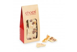 chocri Bruchschokolade aus weißer Schokoladentafeln in einer praktischen Verpackung