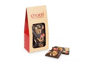 chocri Bruchschokolade aus Zartbitterschokoladentafeln in einer praktischen Verpackung