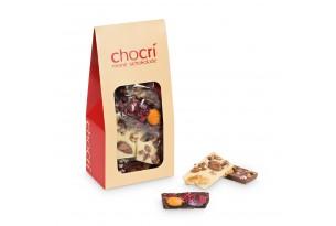 chocri Bruchschokolade aus Vollmilch-, Zartbitter und weißer Sschokoladentafeln in einer praktischen Verpackung
