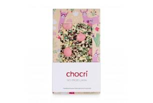 """chocri weiße Schokoladentafel """"No Prob-Lama"""" mit Minze, Erdbeer-Schokodrops und Heidelbeeren in einer Lama-Verpackung"""