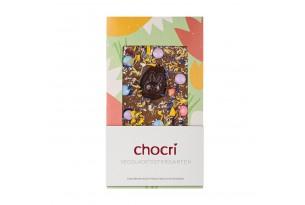 chocri 'Ostergarten' Schokoladentafel aus Reismilch (Vegan) mit Zartbitterschokoladen-Osterei. Blütenmix und vegane Schokolinsen eingepackt