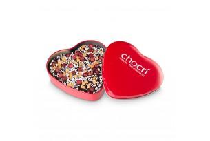 chocri Zartbitterschokoladentafel in Herzform mit Kokosraspeln, Johannisbeeren und Karamell in einer edlen Metalldose