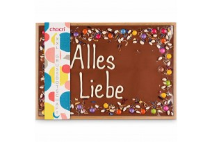 XXL Vollmilchschokoladentafel handbeschriftet mit Botschaft zum Geburtstag in einer hochwertigen Holzkiste Smalli Image