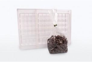 """chocri Schokoladen-Tafelform + Zartbitter-Schoko-Kügelchen """"Selbermachen in Schwarz"""""""