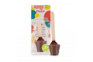 "chocri veganes Kakaogetränk / Trinkschokolade aus Vegolade ""Vegolade-Himbeer"" bestreut mit fruchtigen Himbeeren in der Verpackung"
