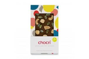 """chocri vegane Schokoladentafel """"Vegolade mit Nüssen"""" mit Cashewkerne, Haselnüsse und Pistazien in der Verpackung"""