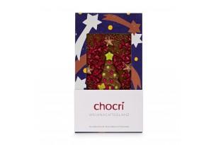 """chocri Vollmilchschokoladentafel """"Weihnachtsglanz"""" mit einem Schoko-Tannenbaum, Himbeeren, Knisterpops und Bronze-Sternen in der weihnachtlichen Verpackung"""