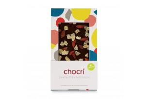 """chocri milchfreie Zartbitterschokoladentafel """"Zartbitter exotisch"""" mit Goji-Beeren und Ingwer in der Verpackung"""