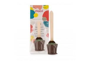 """chocri Zartbitter-Trinkschokolade """"Zartbitter-Minze"""" mit Minzgranulat bestreut in der Verpackung"""