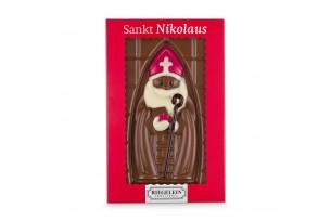 Nikolausstafel aus Vollmilchschokolade handgeschminkt mit weißer und dunkler Schokolade