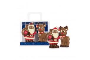 """Confiserie Weibler """"Weihnachtsduo"""" Geschenkset mit Weihnachtsmann und Rentier aus Vollmilchschokolade ausgepackt"""