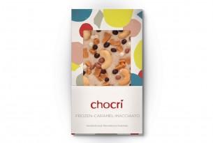 "chocri ""Frozen Caramel Macchiato"" Eiskaffee-Schokolade in Verpackung"