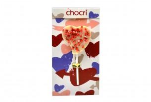 "chocri ""Herz Erdbeerliebe"" Schokoladen-Lolly in Verpackung"