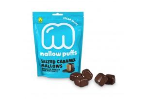 Vegane Marshmallows mit Schokolade und Karamell von Mallow Puffs verpackt