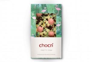"""chocri """"Pretty Pink"""" Schokoladen-Tafel in Verpackung - Weiße Schokolade, Heidelbeeren, Minzblätterbruch, Liebesperlen & Erdbeer-Schoko-Drops, Fairtrade-Kakao"""