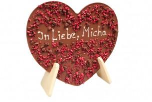Schokoladenherz mit Dekor und individuellem Gruß