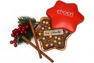 """chocri """"Frohe Weihnachten"""" Weihnachts-Schokoladen-Stern-Tafel + Geschenk-Dose"""