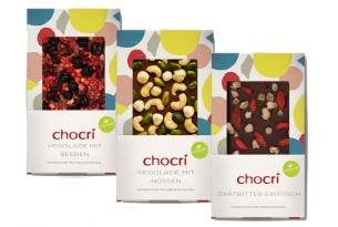 "chocri ""Trio vegan"" (3er Bundle) Vegane Schokoladen-Tafeln"