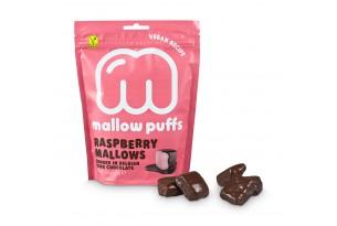 Vegane Marshmallows mit Schokolade und Himbeeren von Baru, verpackt