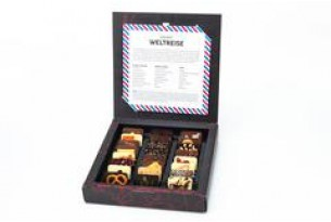 "chocri ""Weltreise"" Mini-Schokoladen-Tafeln in Verpackung"