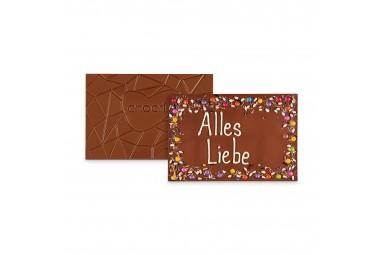 XXL Vollmilchschokoladentafel handbeschriftet mit Botschaft zum Geburtstag in einer hochwertigen Holzkiste