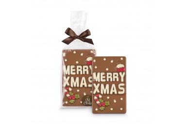 Chef du Chocolat 'Merry XMas' Botschaft aus Vollmilchschokoladen