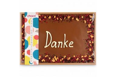 Danke Schokolade 'XXL Danke' Schokoladentafel mit Schokogruß in hochwertiger Holzbox