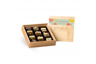 chocri 'Frühlingswiese' Mini-Schokoladentafeln in Holz-Box