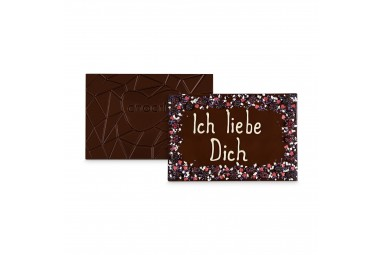 XXL Zartbitter-Schokoladentafel handbeschriftet mit Liebesbotschaft in einer hochwertigen Holzkiste