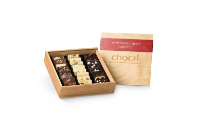 "chocri ""Winterweltreise®"" Mini-Schokoladentafeln in Holz-Box"