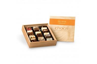 "chocri ""Weltreise"" Mini-Schokoladentafeln in Holz-Box"