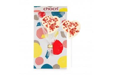 """chocri """"Erdbeerliebe"""" Herz-Schokoladen-Lolly"""
