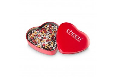 "chocri ""Rosenrot"" Herz-Schokoladen-Tafel + Geschenk-Dose"