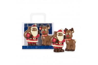 Schokoladen-Weihnachtsmann und Rentier in einem praktischen Geschenkset 'Weihnachtsduo'