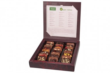 """Vegane Weltreise"" Mini-Schokoladen-Tafeln"