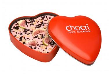 """chocri """"Verliebte Feige"""" Herz-Schokoladen-Tafel + Geschenk-Dose"""