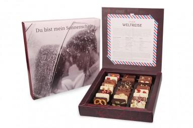 """""""Weltreise"""" Mini-Schokoladen-Tafeln mit individueller Verpackung"""