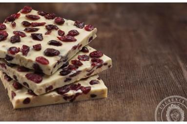 """Laurence """"Weiße Schokolade mit Vanille-Biskuit & Cranberries"""" Schokoladen-Tafel"""