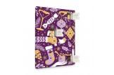chocri Adventskalender mit Schokoladentafeln aus weißer, Zartbitter und Vollmilchschokolade im violetten Design