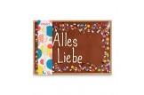 XXL Vollmilchschokoladentafel handbeschriftet mit Botschaft zum Geburtstag in einer hochwertigen Holzkiste verpackt