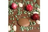 chocri Vollmilchschokoladentafel 'Chill in Green' mit Minze, Honigschokoladentropfen und Johannisbeeren Nahaufnahme, Detailansicht